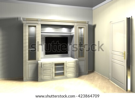 furniture for TV in classic style 3D rendering