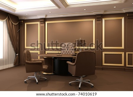 Furniture in wooden office interior - stock photo