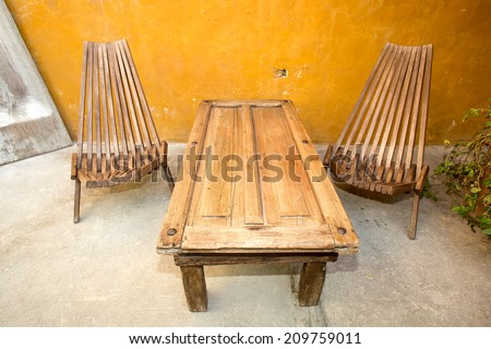 furniture made of reclaimed wood  - stock photo