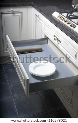 Furniture of the classic italian kitchen - stock photo