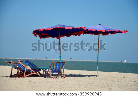Furniture on Cha am Beach in Phetchaburi, Thailand