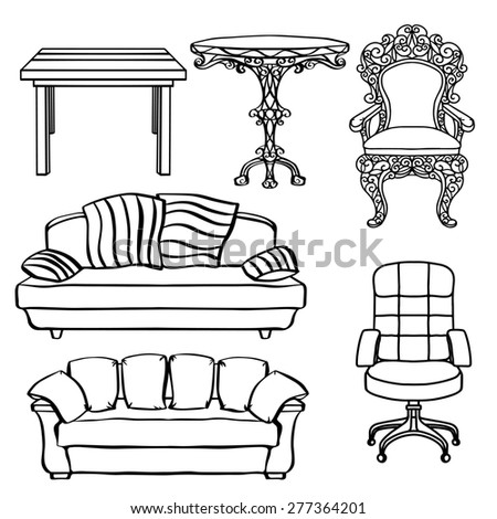 Furniture set, armchair, sofa, table, chair, throne closeup, black lines, isolated on a white background  - stock photo