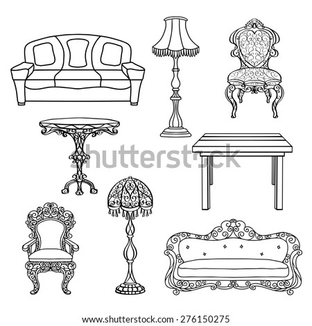 Furniture set, armchair, sofa, table, floor lamp, chair, throne closeup, black lines, isolated on a white background