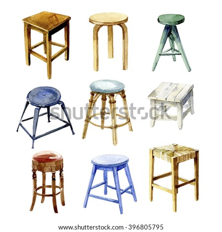 Furniture set. The  kitchen backless stools. Watercolor illustration - stock photo
