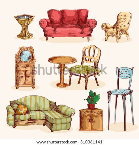 Furniture sketch colored decorative icons set with couch mirror armchair isolated  illustration