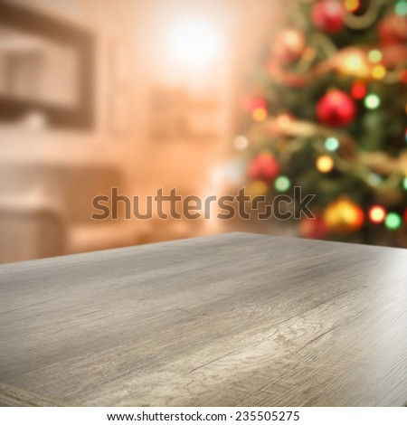 furniture top and green xmas tree  - stock photo
