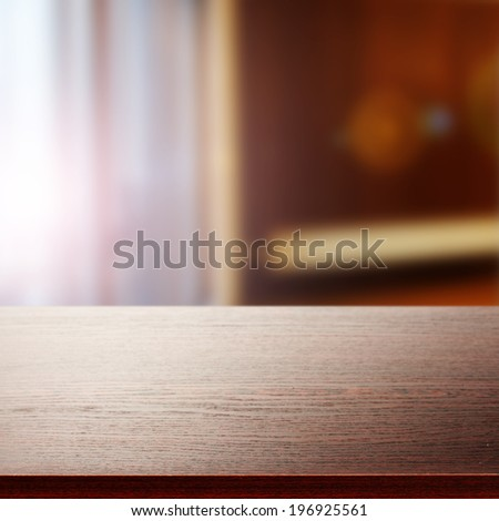 furniture top and sun in window  - stock photo