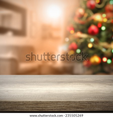 furniture top and tree of xmas time  - stock photo