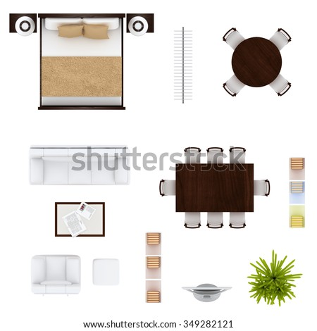 Furniture top view - stock photo
