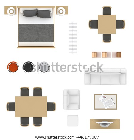 Furniture top view collection. Bed, table with chairs, bar stool, clothing rack, sofa, cofee table, book shelves and tv  isolated on white background. - stock photo