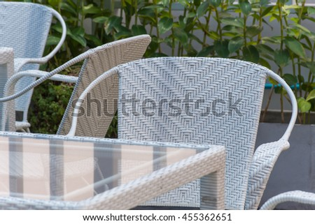 Furniture white chair and glass table decoration for outdoor garden