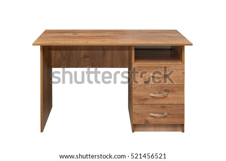 Furniture wood. Brown Desk isolated on white background.