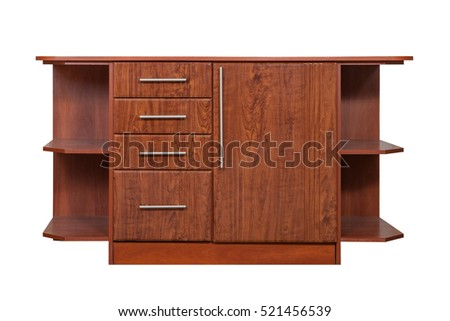 Furniture. Wooden brown chest of drawers on a white