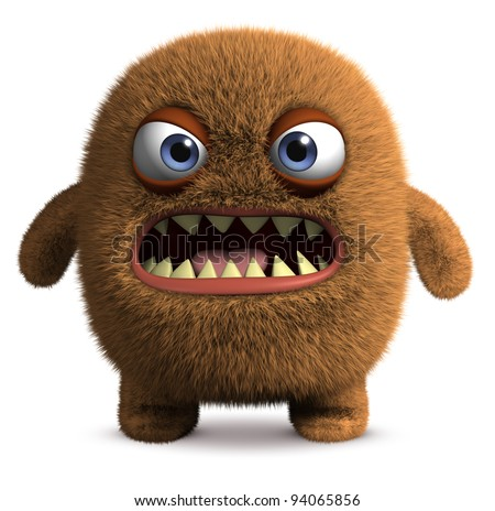 furry cute monster - stock photo