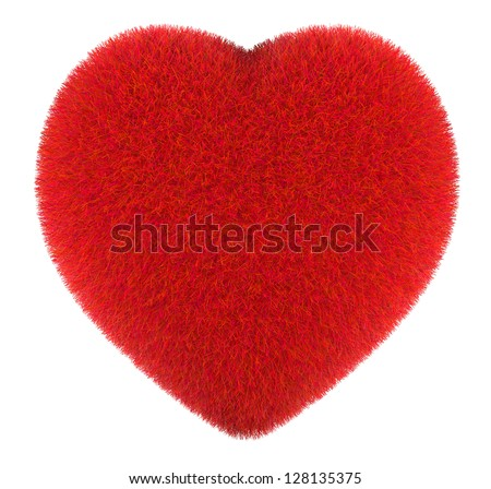 Furry red heart on a white background - stock photo