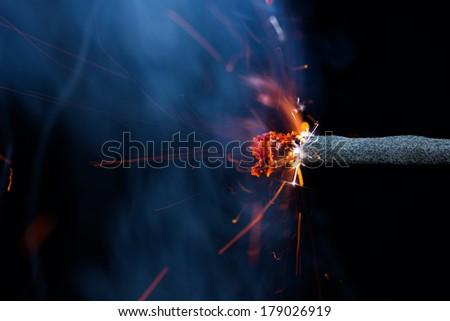 Fuse is burning. Dynamite Fuse    - stock photo