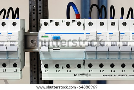 fuse box conduit electricity distribution box wires circuit breakers stock photo fusebox panel close up shot