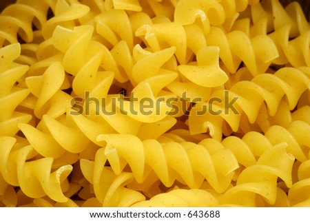 Fusilli pasta close up view showing details