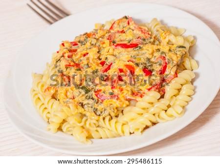 fusilli pasta with sauce - stock photo
