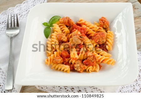 Fusilli with campidanese sauce