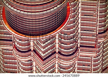 Future and past, abstract background made of glass and steel from Petronas Twin Towers. - stock photo