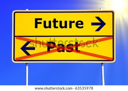 future and past concept with yellow road sign - stock photo