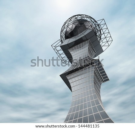 Future architecture. The building of steel and glass - stock photo