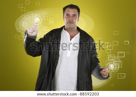 future boy touching a touch screen unseen - stock photo