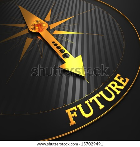 "Future - Business Background. Golden Compass Needle on a Black Field Pointing to the Word ""Future"". 3D Render. - stock photo"