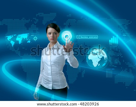 Future business solutions businesswoman in interface (outstanding business people in interiors / interfaces series) - stock photo