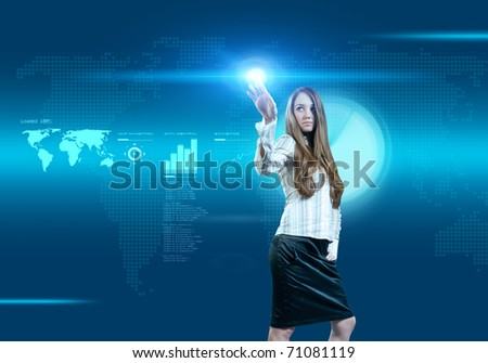 Future business solutions businesswoman operating interface (outstanding business people in interiors / interfaces series) - stock photo