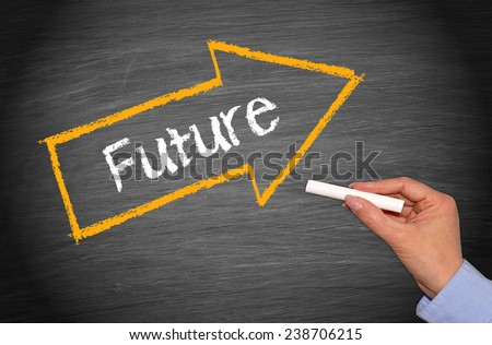 Future - Chalkboard with arrow and female hand with chalk - stock photo