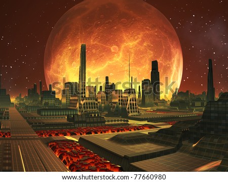 Future City on Lava Planet under Full Moon