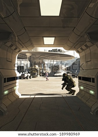 Future City Spaceport Assassination. Assassin emerging from the shadows in a busy spaceport in a futuristic science fiction city on a bright sunny day, 3d digitally rendered illustration - stock photo
