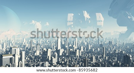 Future City - Veterans of Forgotten Wars. Giant derelict war machines overshadowing a futuristic sci-fi city, 3d digitally rendered ilustration - stock photo