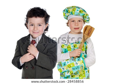 Future cook and businessman isolated over white - stock photo
