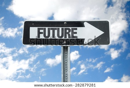 Future direction sign with sky background - stock photo