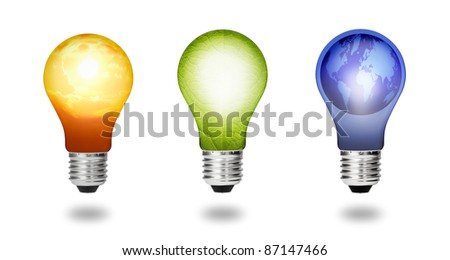 future  eco energy saving concept collection, new alternative natural green leaf, sun and earth  light bulb isolated - stock photo
