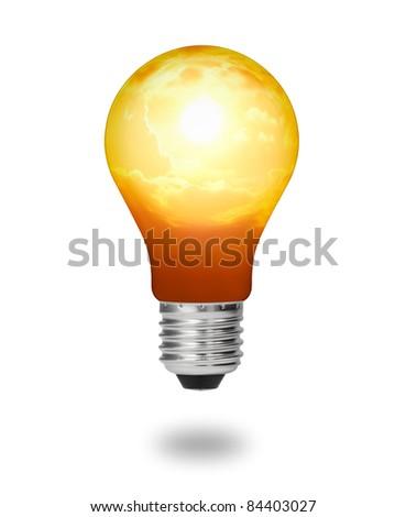 future  energy saving concept, new alternative natural sun energy in light bulb isolated - stock photo