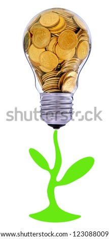 Future for green energy farm, creative symbol  of  business, renewable energy sources - stock photo