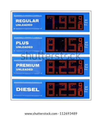 Future gas price sign at highway rest stop - stock photo