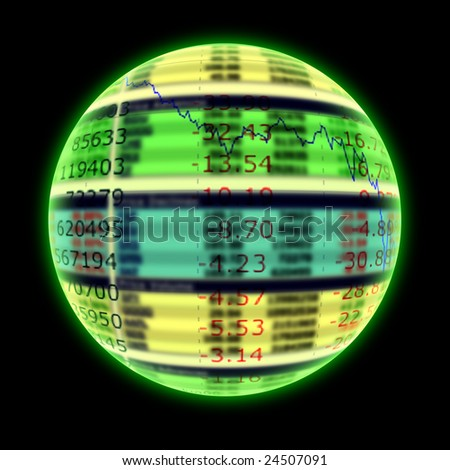 future magic crystal ball on black background - stock photo