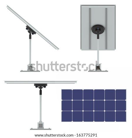 Future,of the use of solar batteries - stock photo