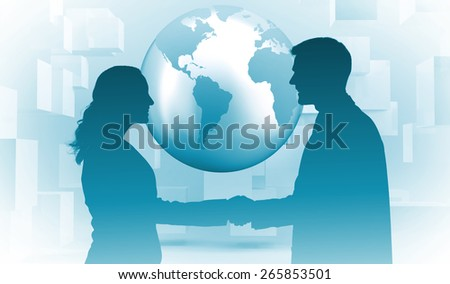 Future partners shaking hands against planet floating in grey room with cubes - stock photo