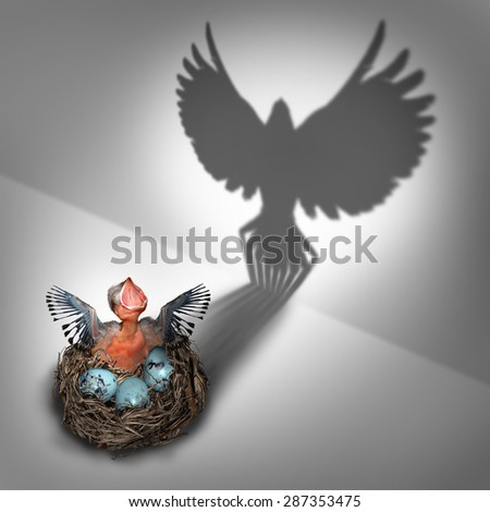 Future potential or genesis concept as a hatchling bird in a nest with a cast shadow of a flying adult rising and taking off with large open wings as a business metaphor and life success symbol. - stock photo