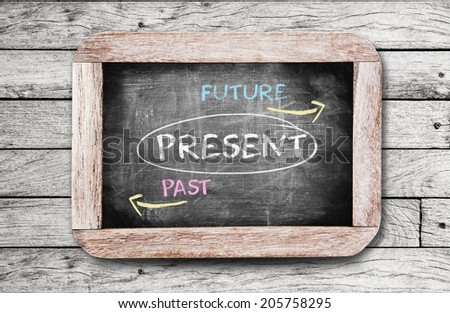 Future, Present and Past writting on blackboard.  - stock photo