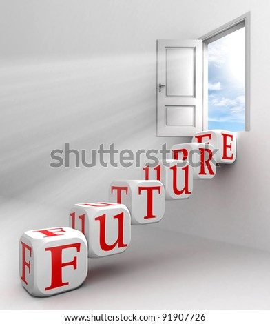 future red word conceptual door with sky and box ladder in white room metaphor - stock photo