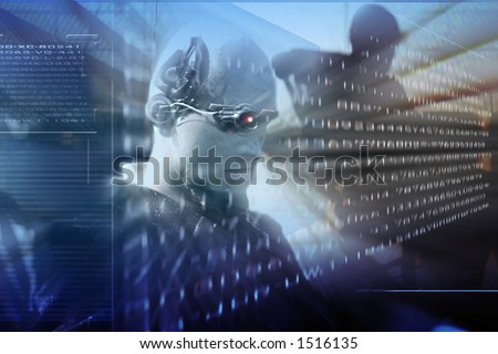 future science technology,virtual reality , an android read the coded information on the hologram screen,robots