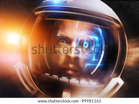 Future Scientific Astronaut. A Futuristic Space man deep in space - stock photo