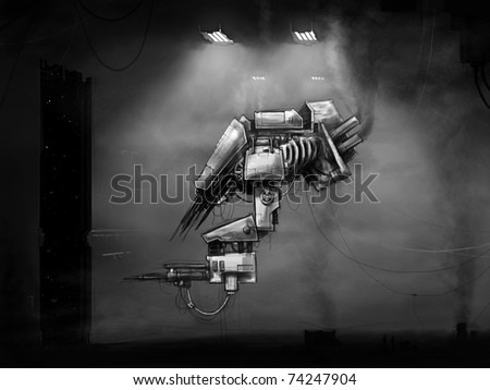 Future scifi droid docks - stock photo